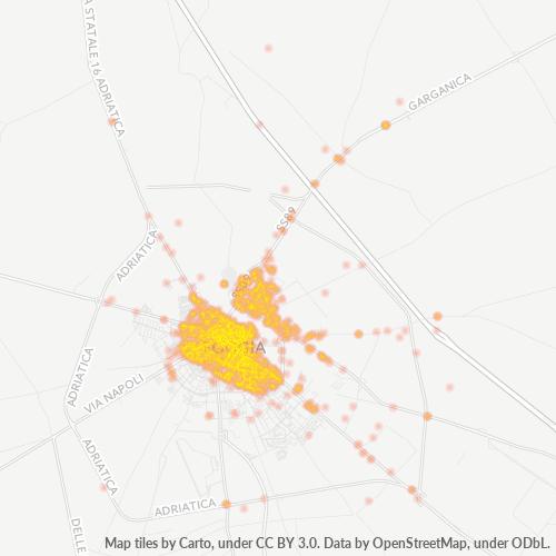 71121 Mappa di concentrazione per la densità di aziende