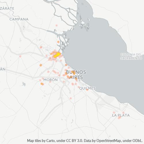 1644 Mapa de calor de densidad empresarial