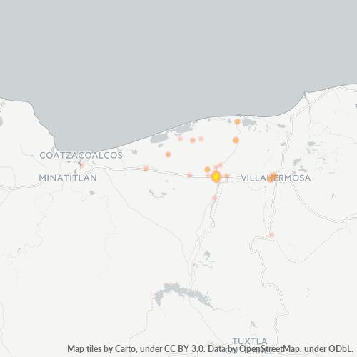 86500 Mapa de calor de densidad empresarial