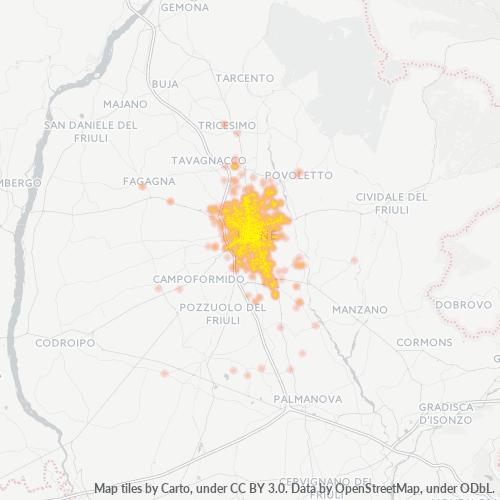 33100 Mappa di concentrazione per la densità di aziende