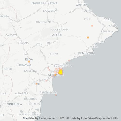 03540 Mapa de calor de densidad empresarial