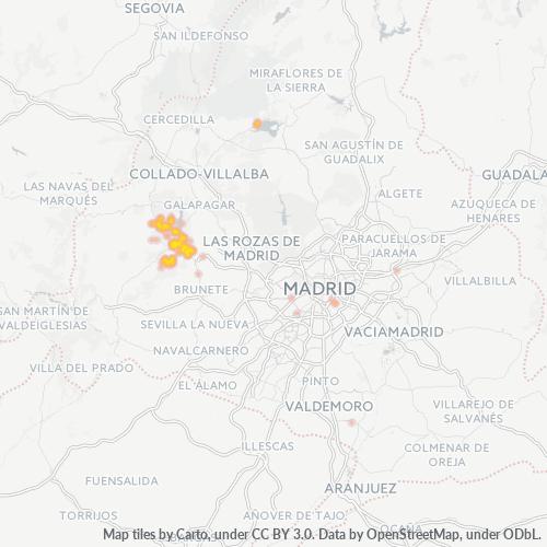 28210 Mapa de calor de densidad empresarial