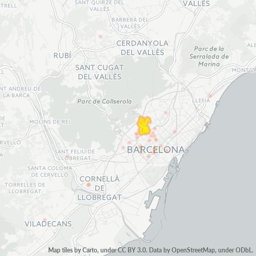 08023 Mapa de calor de densidad empresarial
