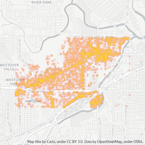 76107 Business Density Heatmap