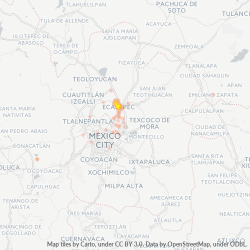 55020 Mapa de calor de densidad empresarial