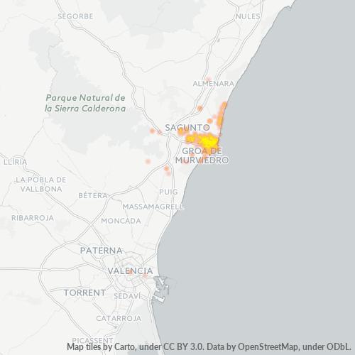 46520 Mapa de calor de densidad empresarial