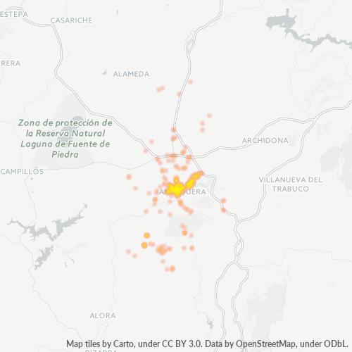 29200 Mapa de calor de densidad empresarial