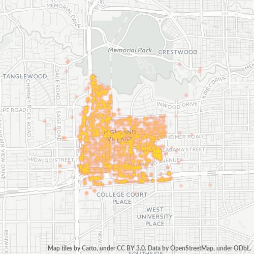 77027 Business Density Heatmap