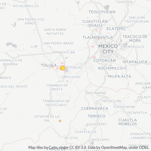 52104 Mapa de calor de densidad empresarial