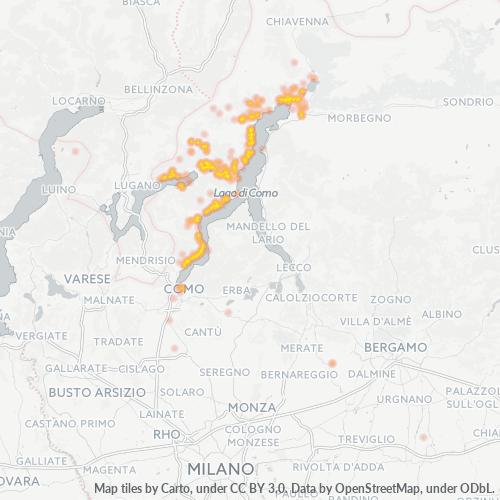 22010 Mappa di concentrazione per la densità di aziende