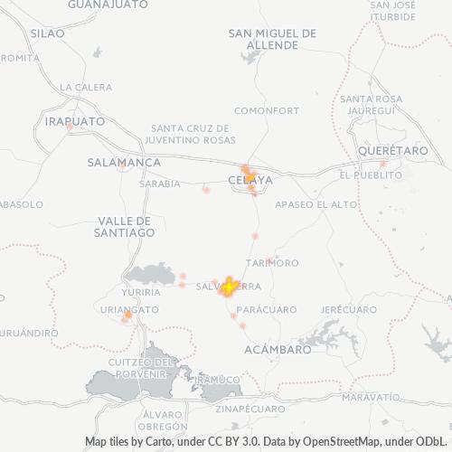 38900 Mapa de calor de densidad empresarial