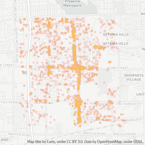 43615 Business Density Heatmap