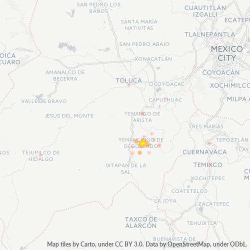 52400 Mapa de calor de densidad empresarial