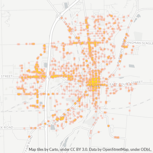 45365 Business Density Heatmap