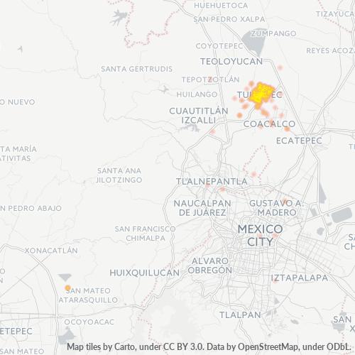 54960 Mapa de calor de densidad empresarial