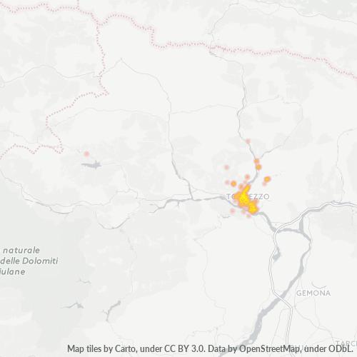33028 Mappa di concentrazione per la densità di aziende