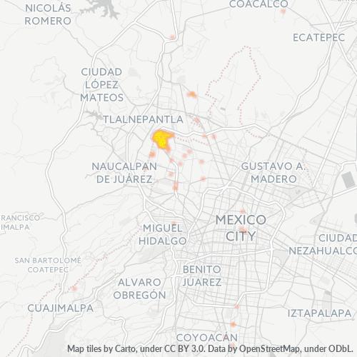 02100 Mapa de calor de densidad empresarial