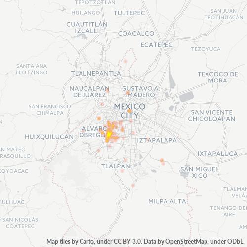 03900 Mapa de calor de densidad empresarial