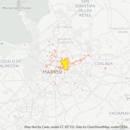 28028 Mapa de calor de densidad empresarial