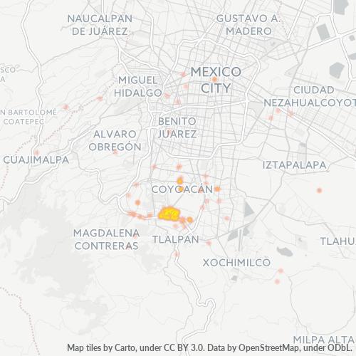 04700 Mapa de calor de densidad empresarial