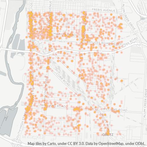 43207 Business Density Heatmap