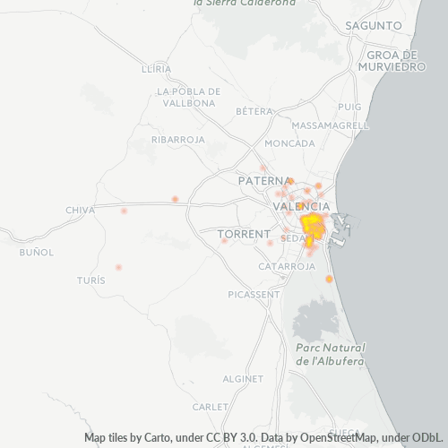 46013 Mapa de calor de densidad empresarial