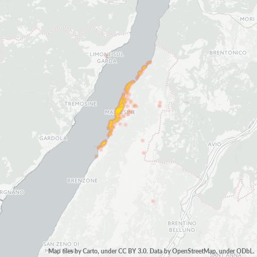 37018 Mappa di concentrazione per la densità di aziende