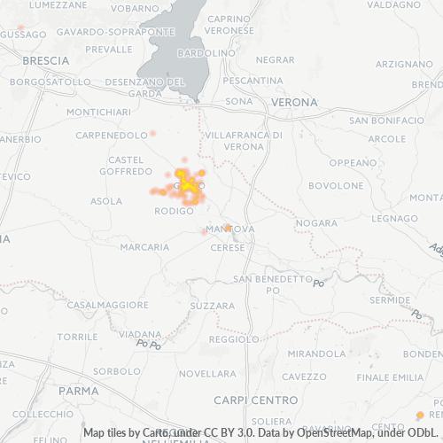 46044 Mappa di concentrazione per la densità di aziende