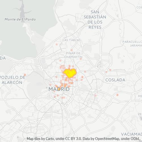 28002 Mapa de calor de densidad empresarial