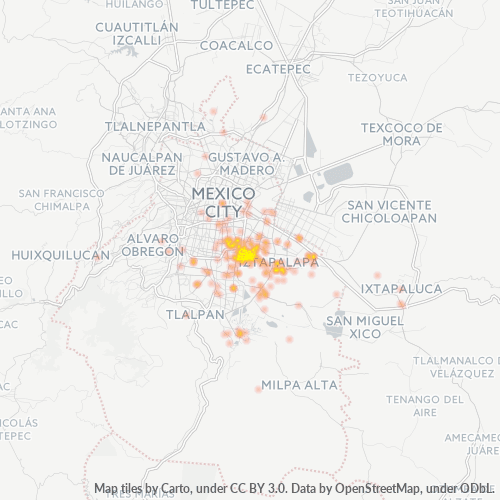 09000 Mapa de calor de densidad empresarial