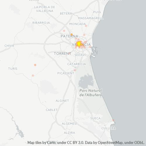 46008 Mapa de calor de densidad empresarial