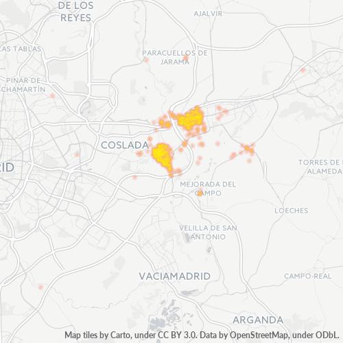 28830 Mapa de calor de densidad empresarial