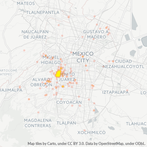 03800 Mapa de calor de densidad empresarial