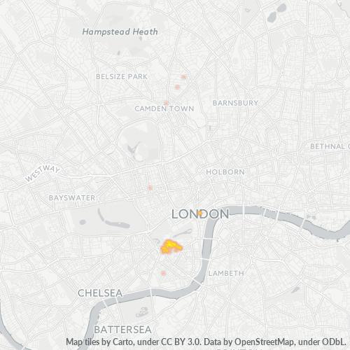 SW1E Business Density Heatmap