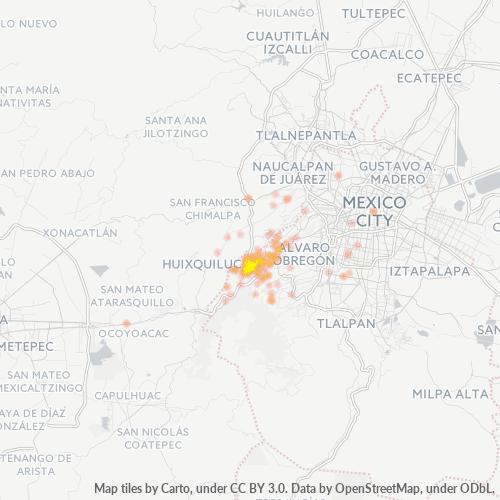 05000 Mapa de calor de densidad empresarial