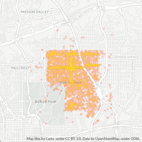 92104 Business Density Heatmap