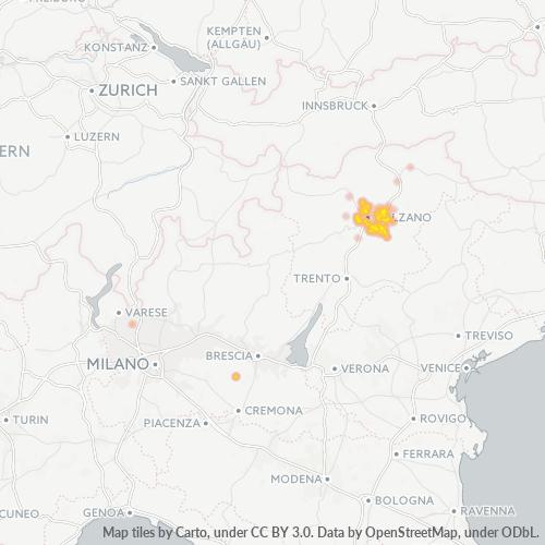 39050 Mappa di concentrazione per la densità di aziende