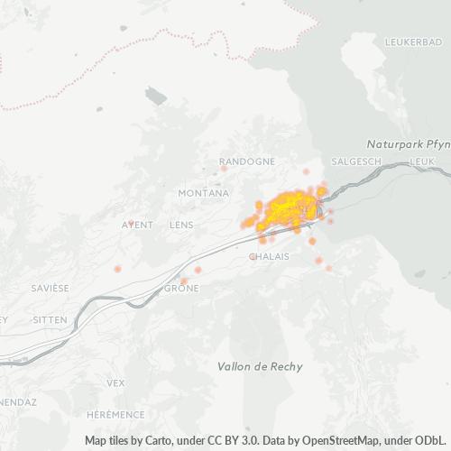 3960 Standortdichte-Heatmap
