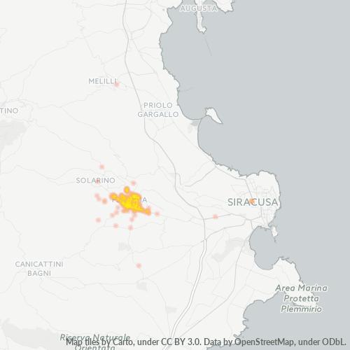 96014 Mappa di concentrazione per la densità di aziende