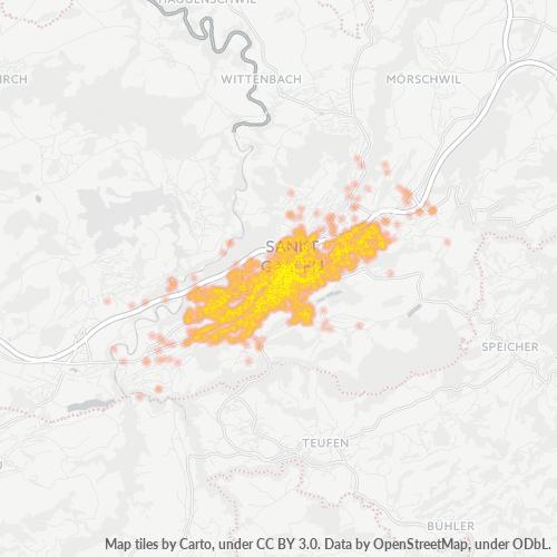 9000 Standortdichte-Heatmap