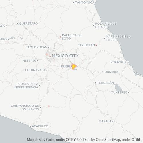 72090 Mapa de calor de densidad empresarial