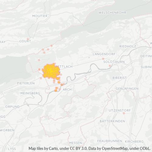 2540 Standortdichte-Heatmap