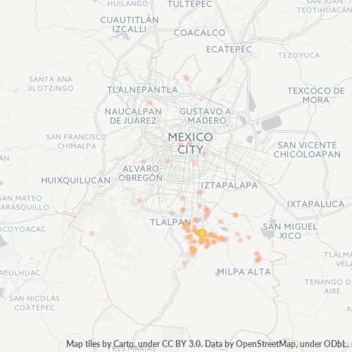 16070 Mapa de calor de densidad empresarial