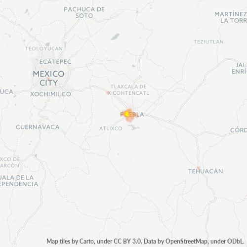 72150 Mapa de calor de densidad empresarial