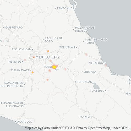 72810 Mapa de calor de densidad empresarial