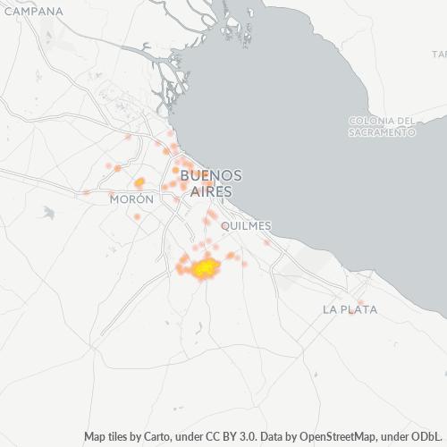 1852 Mapa de calor de densidad empresarial