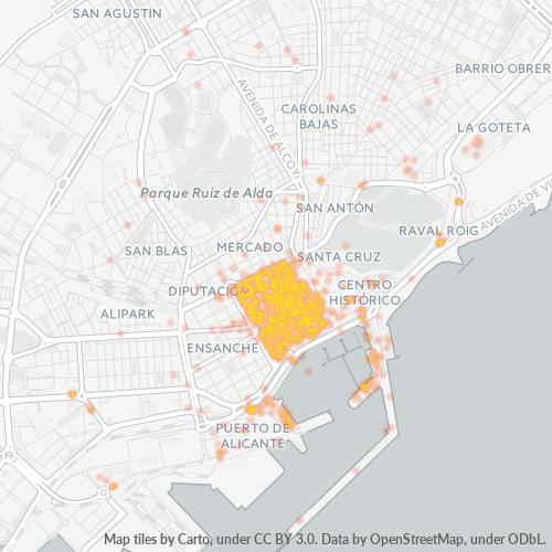 03001 Mapa de calor de densidad empresarial