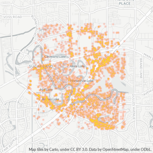 77478 Business Density Heatmap