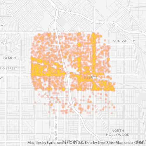 91605 Business Density Heatmap