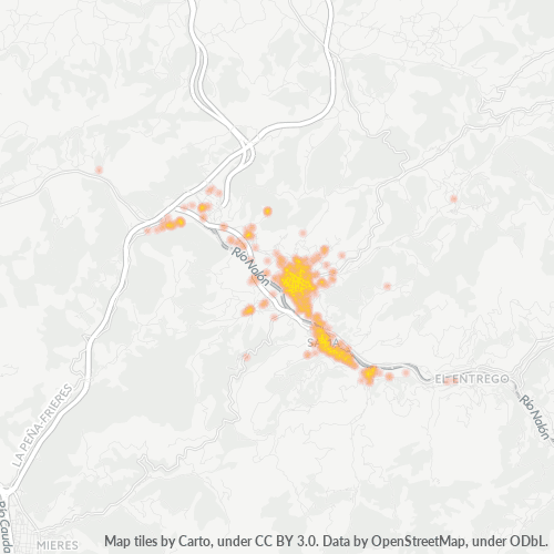 33930 Mapa de calor de densidad empresarial